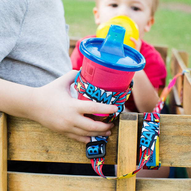 BooginHead SippiGrip in Bam! Adjustable strap for baby and toddler items, from a woman owned small business.
