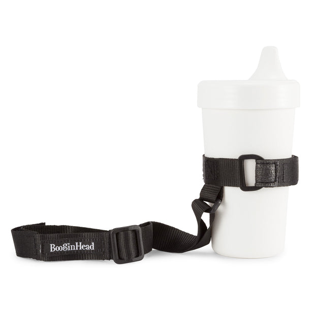 BooginHead SippiGrip in black keeps sippy cup from falling on the ground getting dirty or lost. Keeps baby items off the ground and clean.