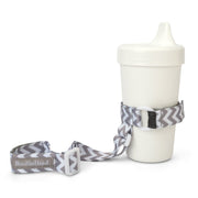 BooginHead SippiGrip in Gray Chevron keeps sippy cup or baby bottle from falling on the ground getting dirty or lost. Keeps baby items off the ground and clean. Gray and white modern design