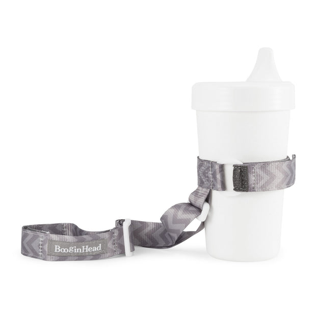 BooginHead SippiGrip in Go Go Chevron, a gray on gray design with adjustable straps. Keep bottles and sippy cups clean and off the floor with the cup holders. Attaches toddler sippy cups, bottles or toys to a highchair or stroller.