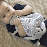 Baby soothing gums with machine washable lovey blanket from BooginHead. Plush PaciPal Teether Blanket, Floppy the Bunny.