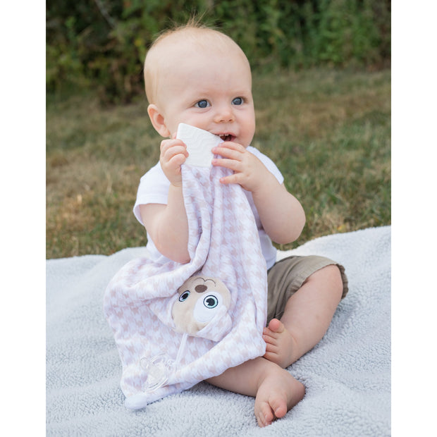 BooginHead Plush PaciPal Teether Blanket, our friendly Patches the Puppy. Very soft with brown and white geometric design. Pacifier loop, textured white silicone teething piece for sore gums, soothing knots for texture. A plush lovey friend.