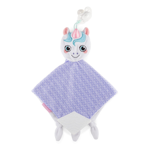 BooginHead Plush PaciPal Teether Blanket, our fantasy Dreamer the Unicorn design. Very soft with purple and white geometric design. Pacifier loop, soft white silicone teething piece for sore gums, soothing knots for texture. A plush lovey friend.