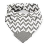 BooginHead Bandana Teether with snaps and silicone teething piece cotton modern gray and white design