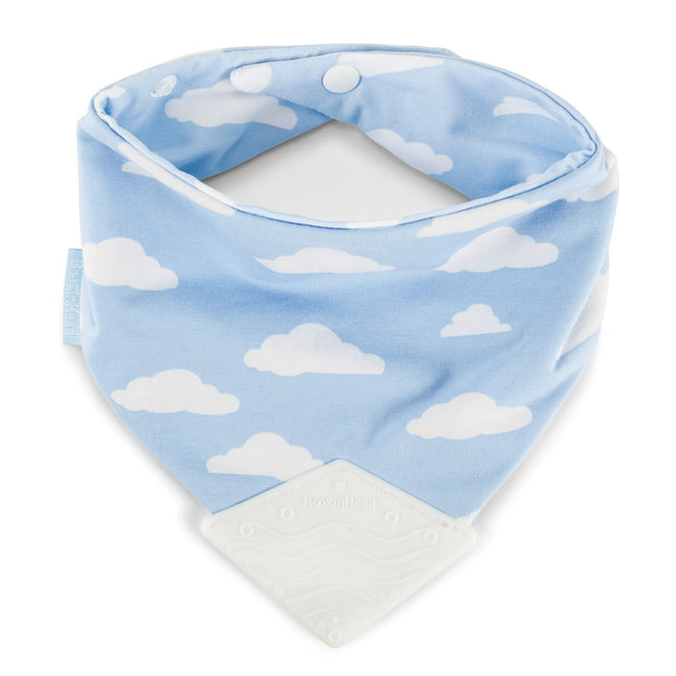 Booginhead Bandana Teether Bib with snaps and blue silicone teething piece with cloud design