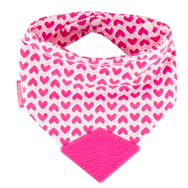 Cotton BooginHead Bandana Teether Bib in Love with pink silicone teething piece snaps bright hot pink hearts on soft pink background
