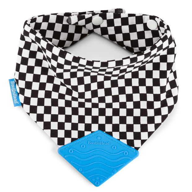 soft cotton BooginHead Bandana Teether Bib in Checkerboard with bright blue silicone teething piece black and white racing flag design