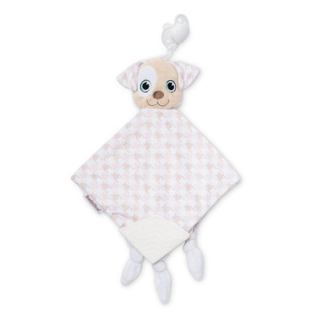 BooginHead Plush PaciPal Teether Blanket, our friendly Patches the Puppy design. Very soft with brown and white hound's-tooth design. Pacifier loop, textured white silicone teething piece for sore gums, soothing knots for texture. A plush lovey friend. Easy to clean in the washer!