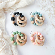 NEW! Beaded Silicone & Wood Teething Rings