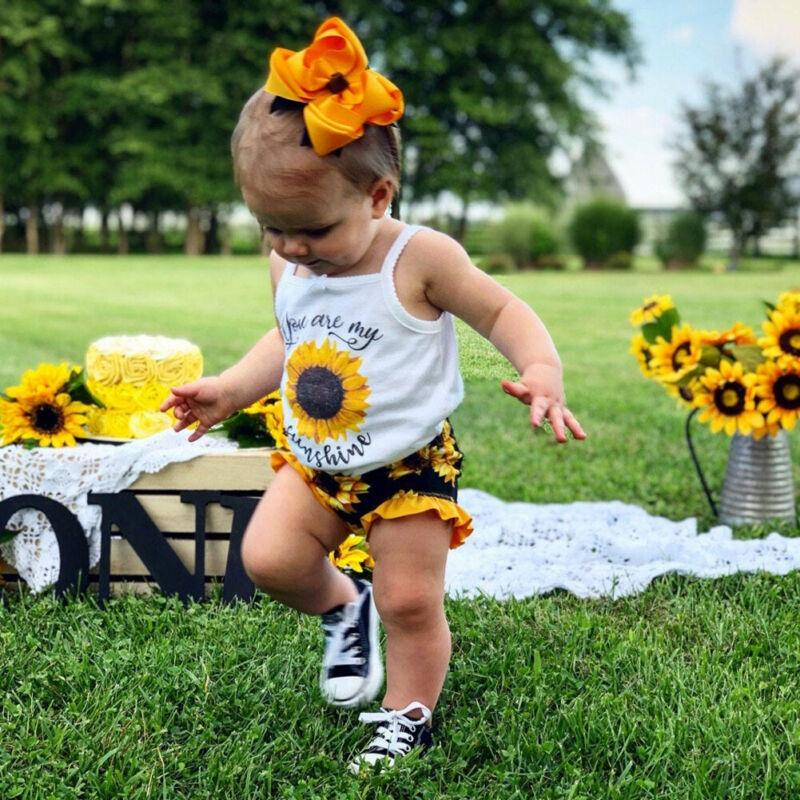 0-24M Summer Kids Baby Girls Clothes Sunflower Vest Tops + Floral Shorts Pants Outfit Clothing Set - Alilight.net