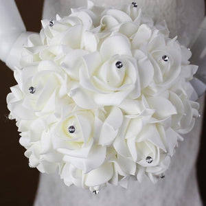 White Ivory Bridal Bridesmaid Flower Wedding Bouquet Artificial Flower Rose - Alilight.net