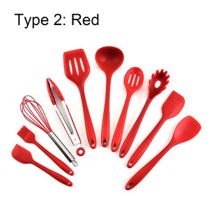 10 Pcs Kitchen Utensil Set Silicone Heat Resistant Non-Stick Cookware Set - Alilight.net