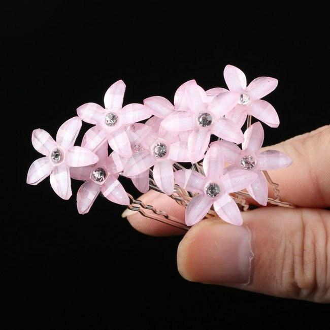 10pcs Wedding Crystal Resin Flower Hair pins For Silver Bridal Hair Accessories - Alilight.net