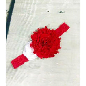 White Rose and Red Glitter Shabby Lace Headband / - Alilight.net
