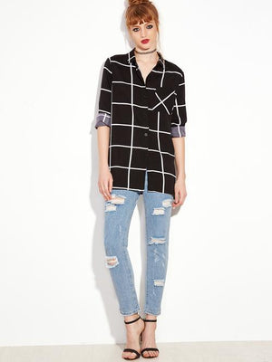 Women Black Long Sleeve Plaid Buttons Shirt Casual Lapel Long Sleeve Plaid Regular Fit Clothing - Alilight.net