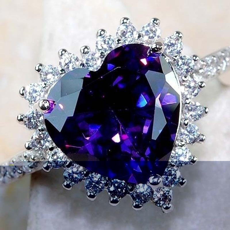 Exquisite Silver Natural Heart Amethyst Gemstone Bride Princess Engagement Ring - Alilight.net