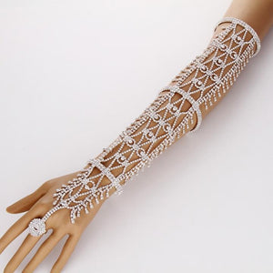 Women Statement Pave Crystal Rhinestone Arm Hand Chain Cuff Ring Copper - Alilight.net
