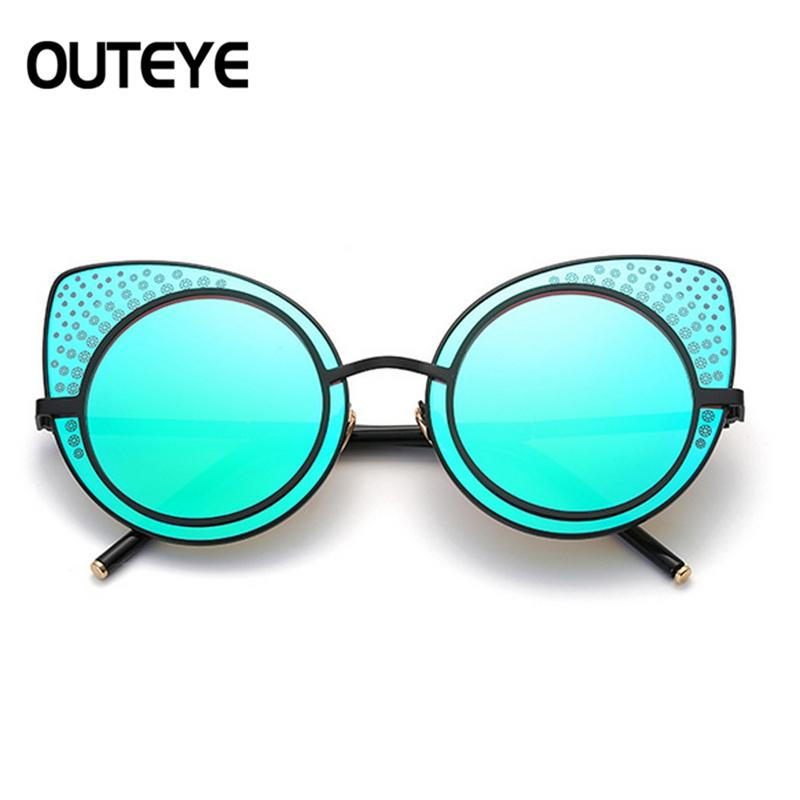 Women Fashion Large Oversized Cat Eye Sunglasses Flat Mirrored Lens Metal Frame - Alilight.net
