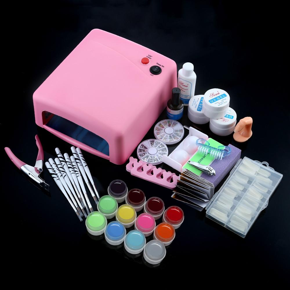 Professional 36W White Cure Lamp Dryer UV Gel Nail Tools Full Set Kit - Alilight.net