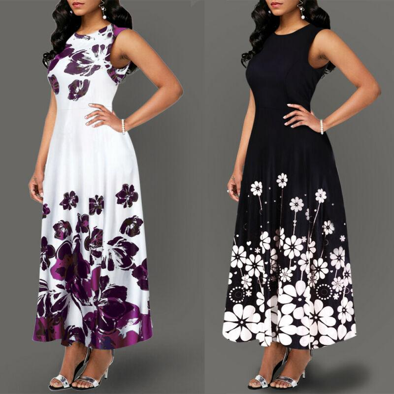 Women's Boho Floral Print Long Maxi Dress Evening - Alilight.net