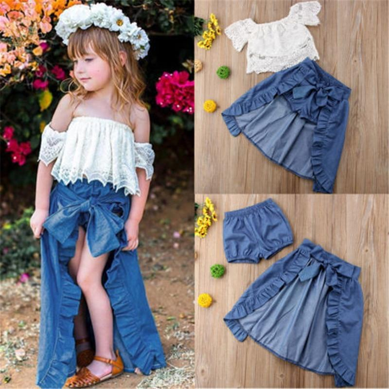 2019 New Summer Princess Girl Kid Lace Off-shoulder - Alilight.net