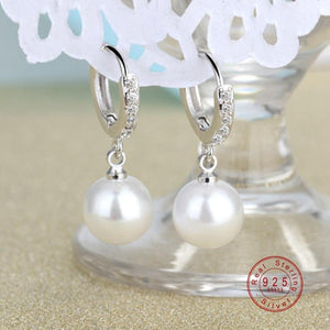 2019 Pearl Earrings Genuine Natural Freshwater Pearl 925 Sterling Silver Earrings - Alilight.net