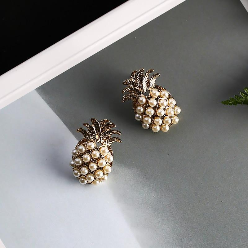 2019 Simple Gold Color Pineapple Fruit Stud Earrings Imitation Pearl Hollow - Alilight.net