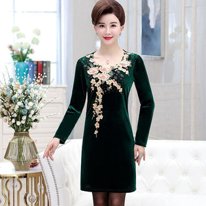 Women's gold velvet one piece dress tops shirt - Alilight.net