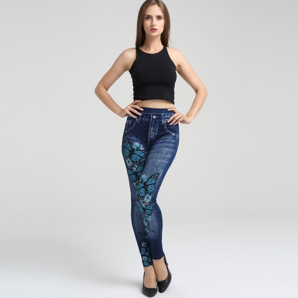 3D Floral Butterfly Print Elastic Waist Jeggings One size - Alilight.net