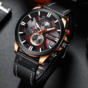 CURREN 8346 Men's Business Round Six-pin Watch Multi-function Waterproof Leather - Alilight.net