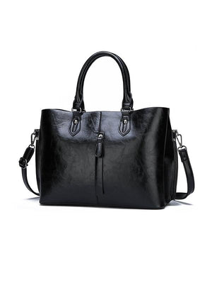 2 Piece Solid PU Leather Tote Bag Set - Alilight.net