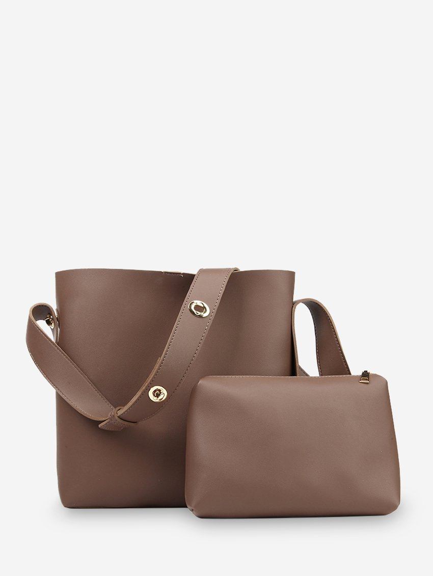 2Pcs Solid Leather Simple Bag Set Perfect for dating,shopping,working,traveling, vocation, party - Alilight.net