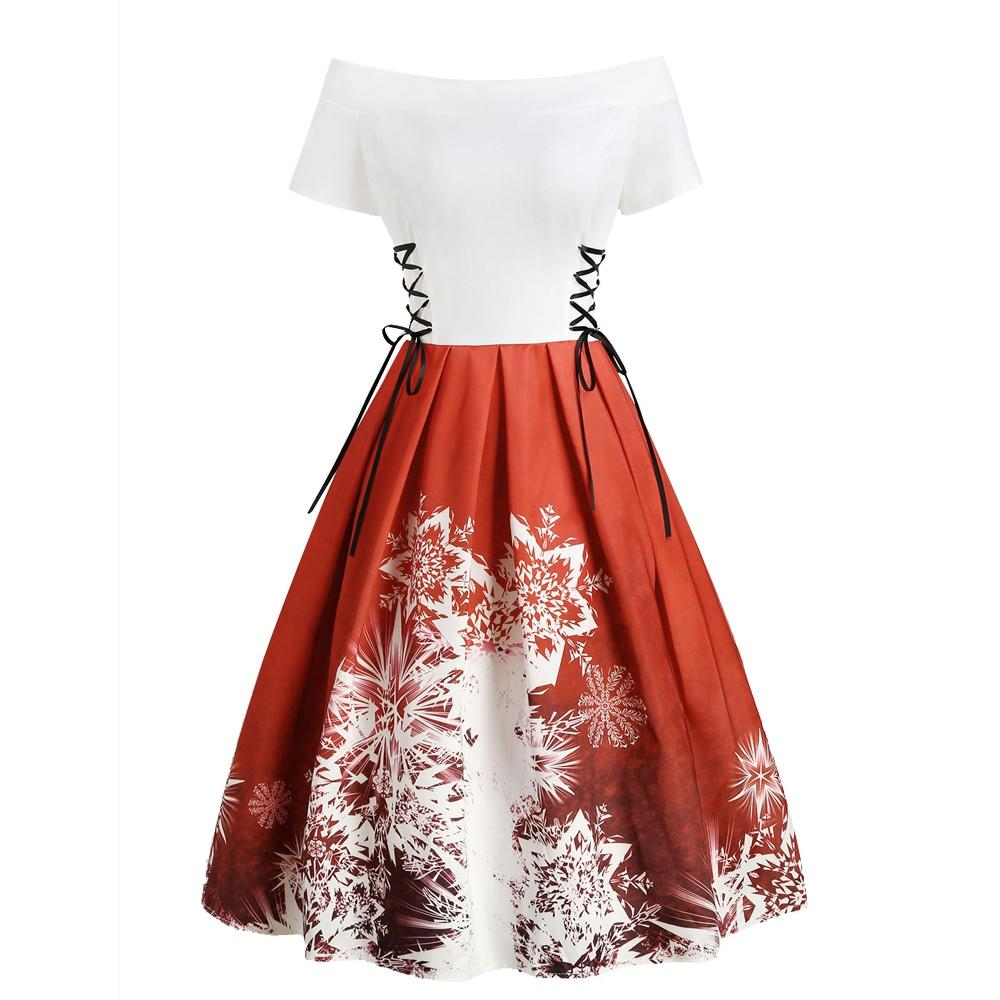 Christmas Off Shoulder Lace Up Snowflake Dress - Alilight.net