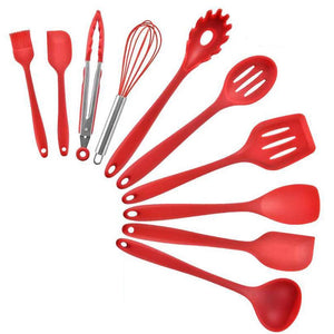 10PCS Nonstick Silicone Cooking Baking Utensil Turner Tongs Spatula Spoon - Alilight.net
