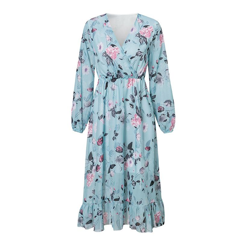 2020 Elegant Floral Print Vintage Dresses Blue Long Sleeve - Alilight.net