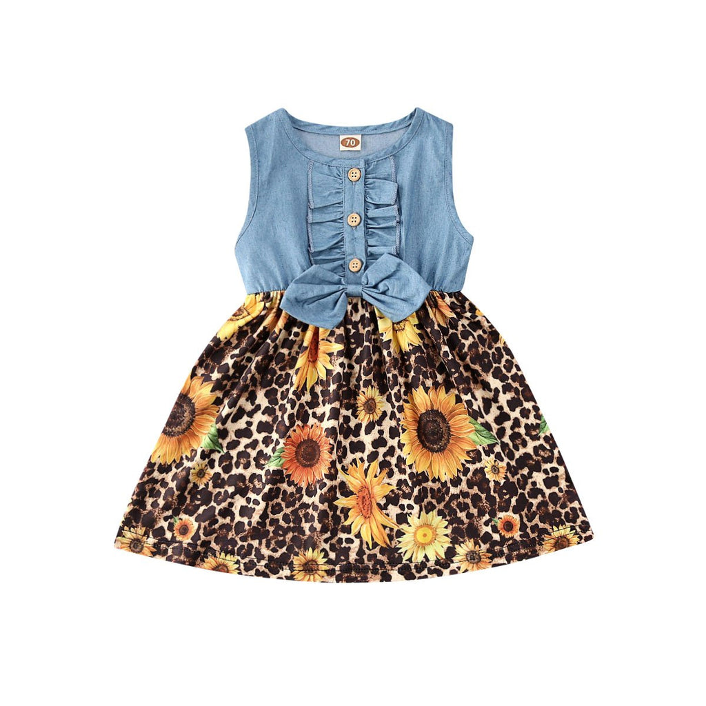 2020 Newly Cute Kids Baby Girls Dress Bowknot Sunflowers - Alilight.net