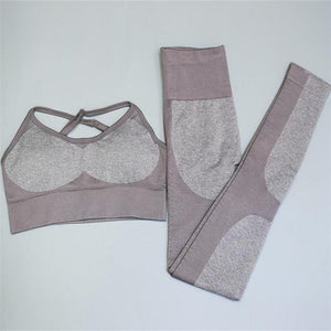 2PCS/Set army pattern Yoga Set young female smooth and continuous - Alilight.net