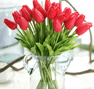 31PCS/LOT pu tiny tulip flower real touch wedding flower bouquet synthetic silk flowers - Alilight.net