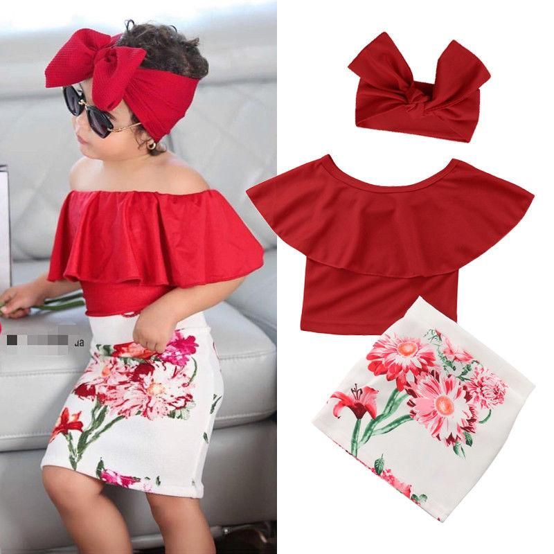 3pcs Lovely Kids Children Clothes Set Little Girls Red Ruffles - Alilight.net