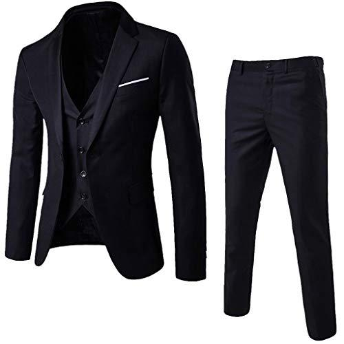 3-Piece Blazer Jacket Men's Slim Suit Coat Tuxedo Party Business Wedding Party Jacket Vest & Pants - Alilight.net
