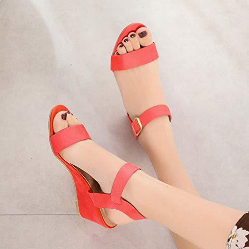 Women's Summer Ankle Strap Buckle Low Wedge Platform Heel Sandals - Alilight.net