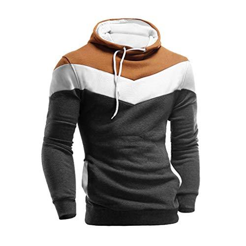 Fanteecy Mens Slim Fit Hoodie Color Block Pullover Hooded Sweatshirt Outwear - Alilight.net