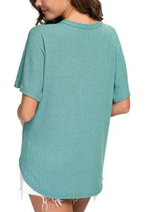 IWOLLENCE Womens Waffle Knit Tunic Blouse - Alilight.net