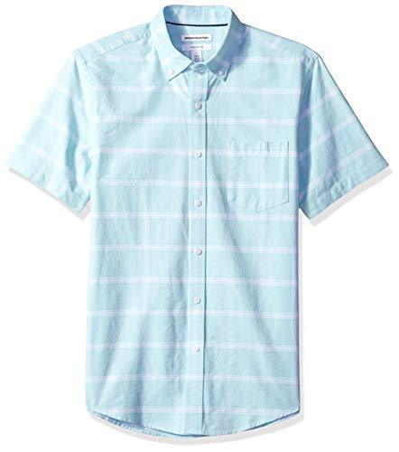 Men's Slim-Fit Short-Sleeve Pocket Oxford Shirt: Clothing - Alilight.net