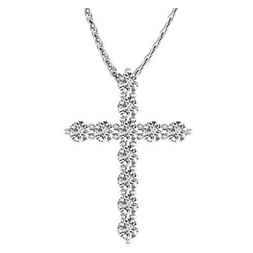 1 1/2 Carat Total Weight 14K White Gold Diamond Cross Value Collection: Jewelry - Alilight.net