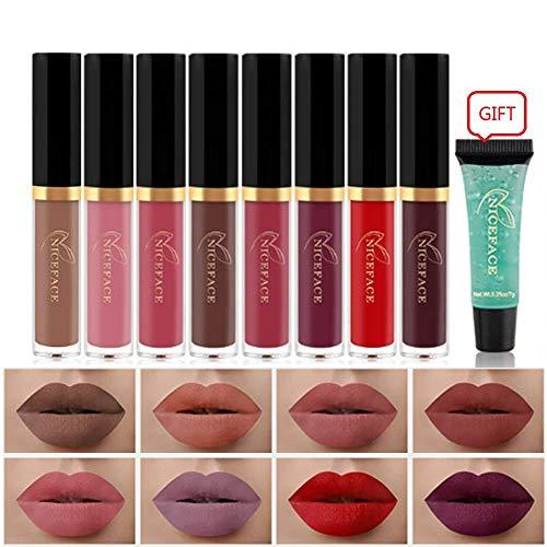Matte Nude Lipstick Set, NICEFACE 8 Colors Waterproof Long Lasting Lip Gloss Non-Stick - Alilight.net