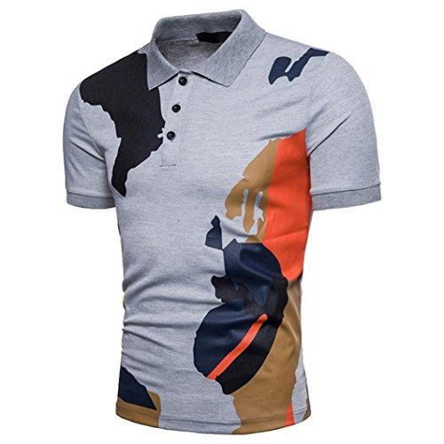 Nikuya Fashion Mens Buttons Design Camouflage Short Sleeve Slim Fit Casual T Shirt: Clothing - Alilight.net