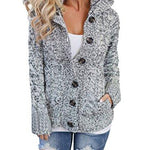 Sidefeel Women Hooded Knit Cardigans Button Cable Sweater Coat - Alilight.net