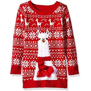Blizzard Bay Girls' L/S Crew Neck Christmas Llama Tunic Sweater: Clothing - Alilight.net