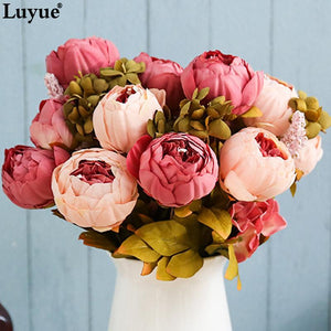 Luyue 13 Branch/Bouquet synthetic flowers Peony Vivid flores synthetices false Silk - Alilight.net